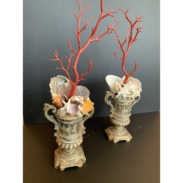 Early 20th Century Baroque-Style Carved Silver Gilt Urns With Shell & Faux Coral Composition - a Pair For Sale - Image 5 of 12