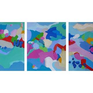 Abstract Landscape 3 Piece on Cradled Birch | Valerie Erichsen Thomson Original | Peaceable Kingdom | Triptych For Sale