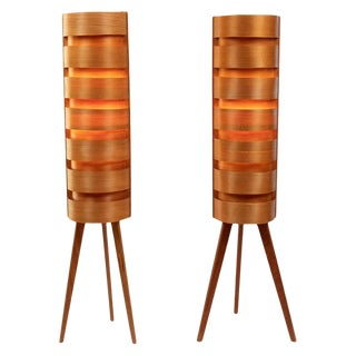 1960s Hans-Agne Jakobsson Wood Tripod Floor Lamps for Ab Ellysett - a Pair For Sale