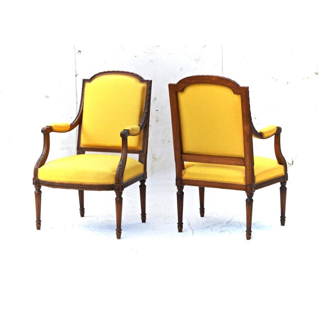 Louis XVI Fruitwood & Yellow Bergeres - A Pair - Image 2 of 10