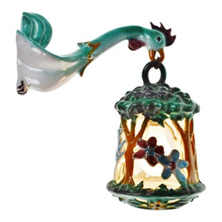 Vintage Hand Painted Italian Ceramic Rooster Lantern Wall Sconce For Sale