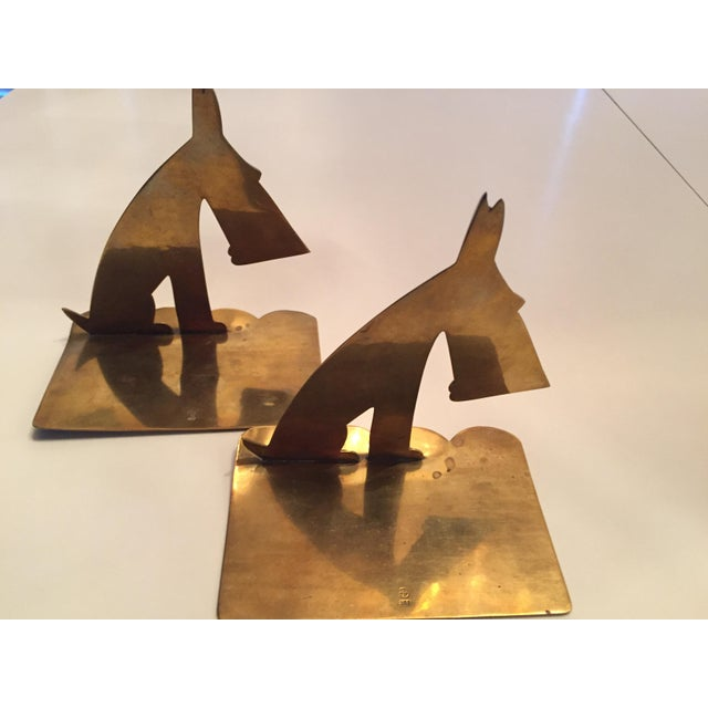 Hagenauer Werkstätte Hagenauer Signed Schnauzer Brass Bookends - a Pair For Sale - Image 4 of 7