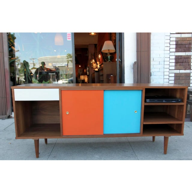 Not Yet Made - Made To Order Mid-Century Modern Walnut Credenza with Blue and Orange Accents For Sale - Image 5 of 9