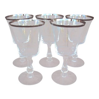 Fostoria Platinum Band Crystal Dessert Wine Glasses - Set of 5 For Sale