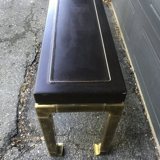 Metal Hollywood Regency Leather Top and Brass Base Console Table by Widdicomb For Sale - Image 7 of 11