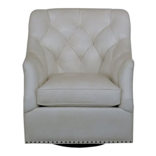 Hancock & Moore White Tufted Leather Club Chair For Sale