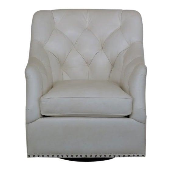 Terrific Hancock Moore White Tufted Leather Club Chair Creativecarmelina Interior Chair Design Creativecarmelinacom