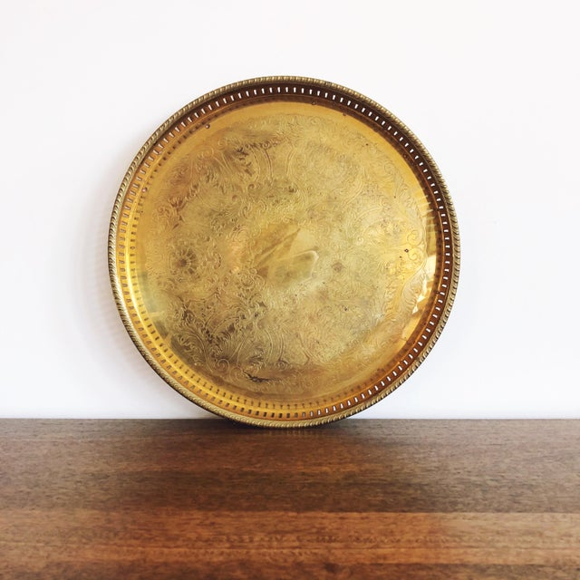 Brass Vintage Engraved Brass Circular Tray For Sale - Image 8 of 8
