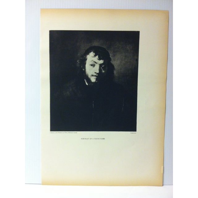 """This is a vintage black and white print on paper of a famous Rembrandt painting that is titled """"Portrait of a Young..."""