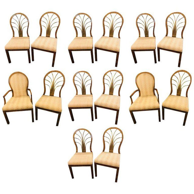 Set of 14 Mid-Century Modern Master-Craft Bronze Mounted Burl Wood Dining Chair For Sale - Image 13 of 13