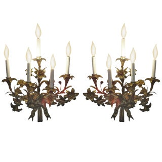 Pair of Gilded Metal Sconces For Sale