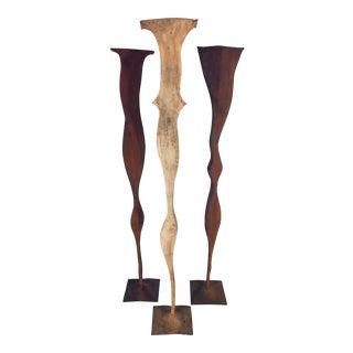Artist Signed Organic Steel Floor Sculptures - Set of 3 For Sale