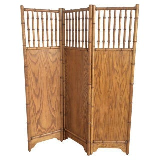 Vintage Faux Bamboo Screen For Sale