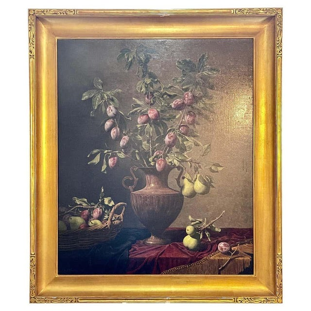 """American Frank Arcuri, Still Life Oil on Canvas. Framed. """"Small Feast With Figs"""" 1999 For Sale - Image 3 of 13"""