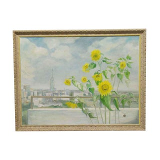 Vintage Sunflower Scenic Painting by Brick For Sale