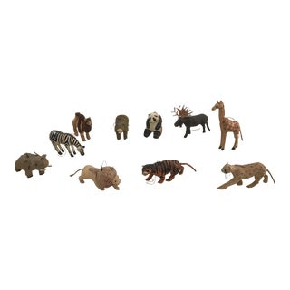 Wild Animal Papier Mache Menagerie- Set of 10 For Sale