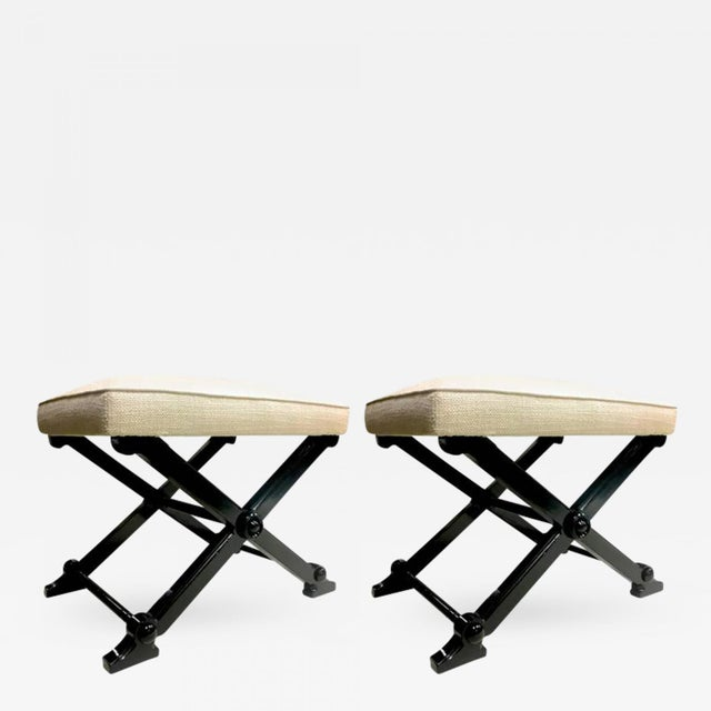 Canvas Pair of Neoclassic Chicest X-Shaped Stools For Sale - Image 7 of 7