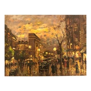 Original French Oil Painting of Porte St Dennis Paris For Sale