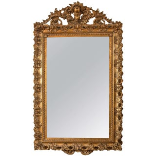 Antique 19th C. Carved Gilt Gold Wooden Mirror For Sale