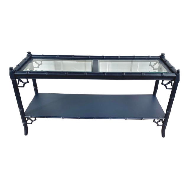 Thomasville Allegro Console Sofa Table Painted Navy For Sale
