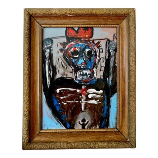 1970s Vintage Abstract Basquiat Style Framed Painting For Sale