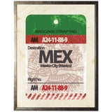 "Image of Mexico City Travel Ticket in Pewter Shadowbox - 13.5ʺ × 17.5"" For Sale"