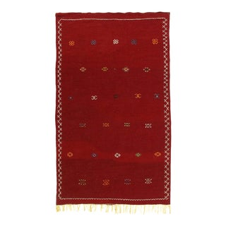 Vintage Hand Woven Flat Weave Moroccan Rug For Sale