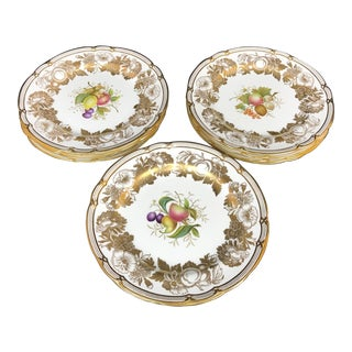 Spode England Refined Gold and Multi-Color Fruit Luncheon Plates - Set of 12