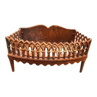 Antique Iron Fireplace Grate For Sale