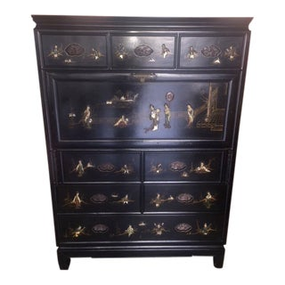 Vintage Asian Style Black Wood With Stone Carvings Chest/Bar For Sale