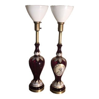 1930s Rare Antique Ruby Glass Torchiere Table Lamps - a Pair For Sale