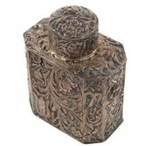 Image of 19th Century Antique Silver Repousse Tea Caddy For Sale