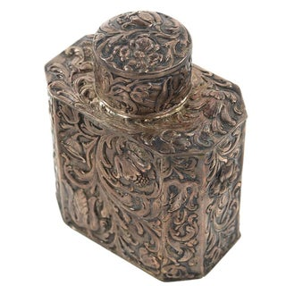 19th Century Antique Silver Repousse Tea Caddy For Sale