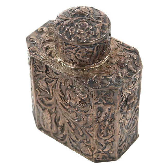 19th Century Antique Silver Repousse Tea Caddy For Sale