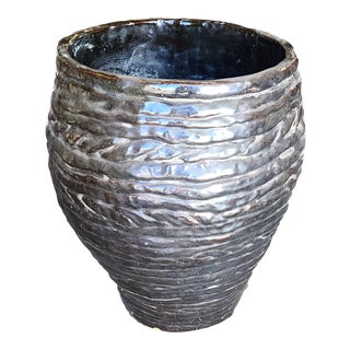 1960s Hand-Spun Layered Clay Art Pottery Vase Signed Davison For Sale