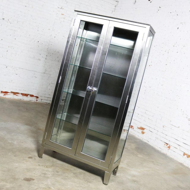 Mid 20th Century Vintage Stainless Steel Industrial Display Apothecary Medical Cabinet With Glass Doors and Shelves For Sale - Image 5 of 13