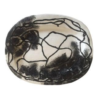 Moise Gross Black & White Studio Pottery Ceramic Platter For Sale