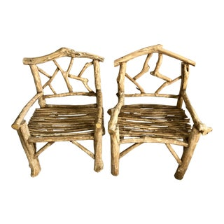 1920's Natural BentWood Twig Garden Seats - a Pair For Sale