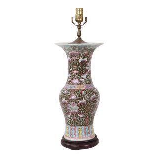 Late 19th Century Famille Rose Arabesque Qing Vase Lamp For Sale