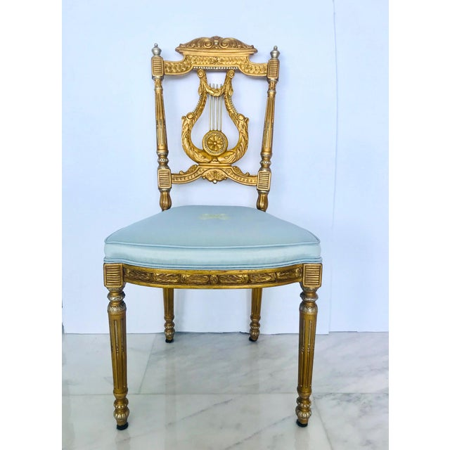 Elegant Belle Epoque Lyre Chair in Antique Gold Leaf, Italy For Sale - Image 13 of 13