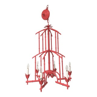 Metal Faux Palm Beach Style Bamboo Chandelier For Sale