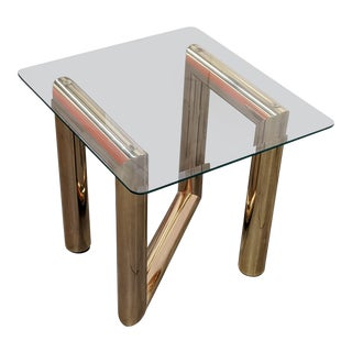 1970s Brass and Glass Side Table by Karl Springer For Sale