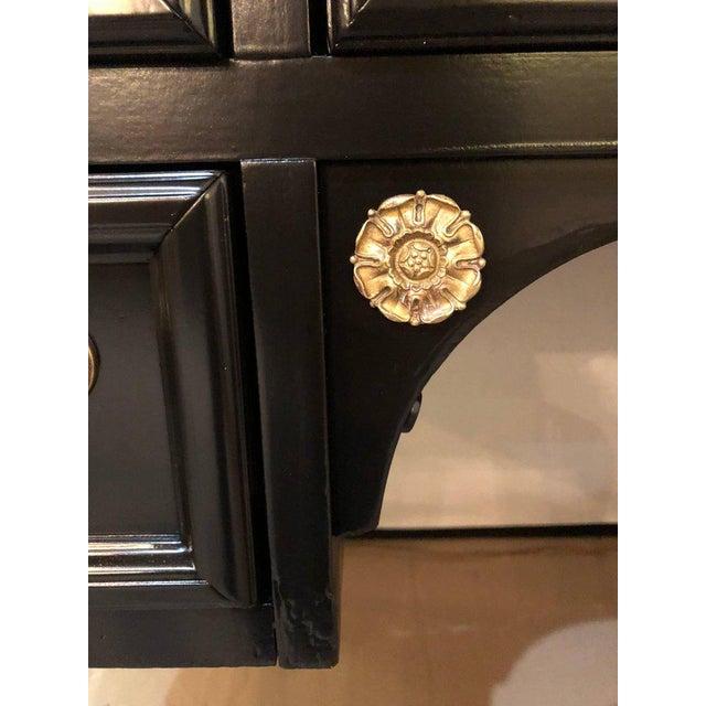 Hollywood Regency Louis XVI Style Bronze-Mounted Ebony Writing Desk or Vanity in Jansen Manner For Sale - Image 3 of 12