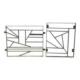 Mid Century Modern Custom Iron Window Grills - a Pair For Sale