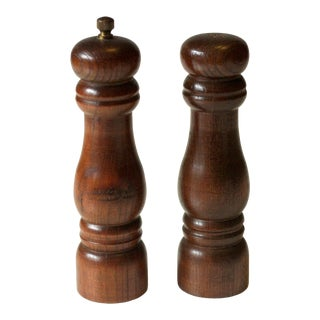 Vintage 1970s Wood and Metal Salt and Pepper Shakers For Sale