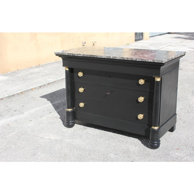 Gold 1900s French Empire Ebonized Marble Top Chest of Drawers For Sale - Image 8 of 13