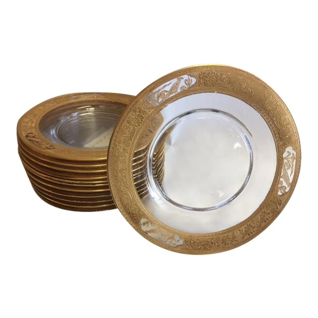 Etched Glass 24k Gold Plates With Rim - 12 Pieces For Sale