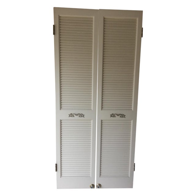 Louvered French Doors - A Pair - Image 1 of 3
