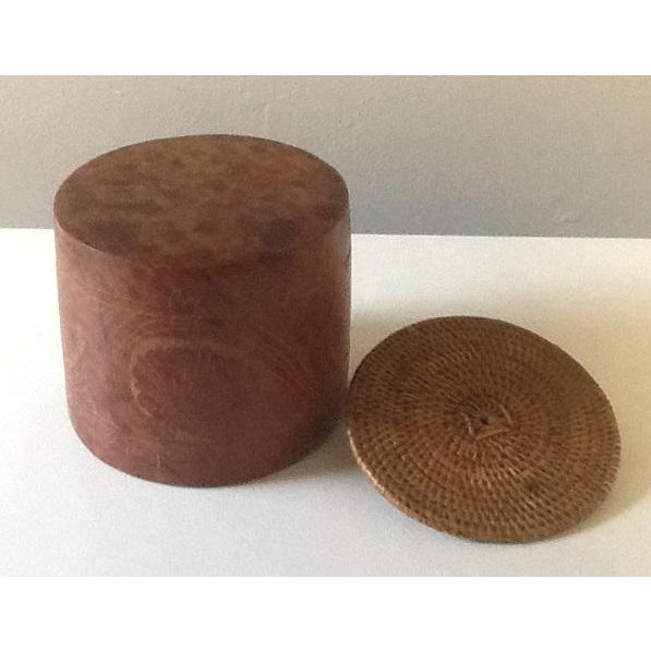 Tribal Caribbean Art Pottery Lidded Jar and Dish With Wicker Accents – Set of 2 For Sale - Image 3 of 6