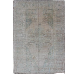 Pale Color Vintage Turkish Oushak Rug With Layered Medallion in Teal, Taupe For Sale